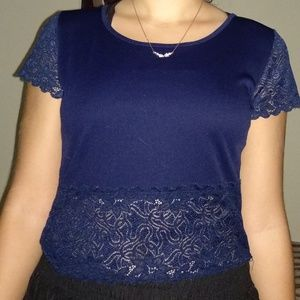 Navy Blue Lace Crop Top